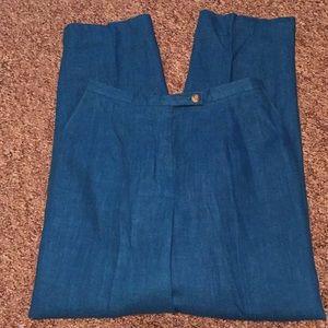 Harve' Bernard 💯% linen Lined turquoise trousers